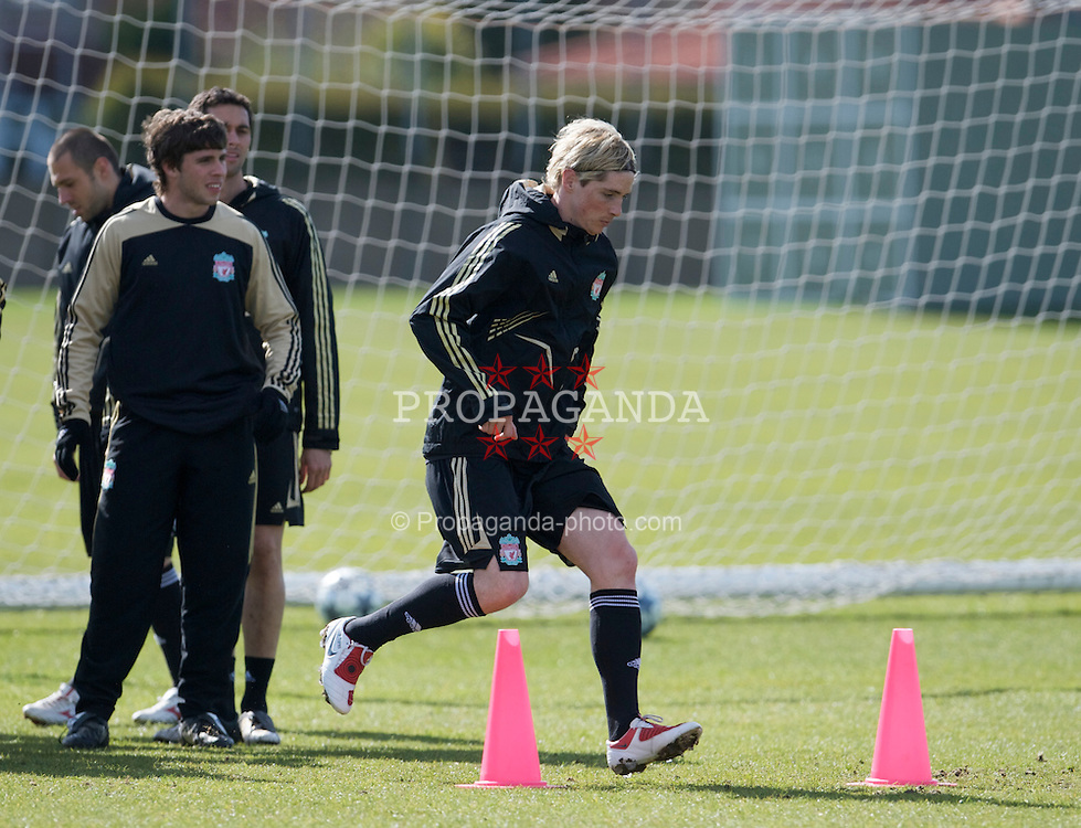 LIVERPOOL, ENGLAND - Tuesday, April 7, 2009: Liverpool's Fernando Torres training at Melwood ahead of the UEFA Champions League First Quarter Final 1st Leg against Chelsea. (Photo by David Rawcliffe/Propaganda)