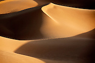 Picture of sand dunes with shadows in the Sahara desert of Morocco.