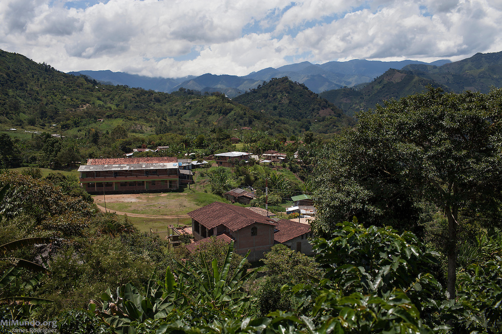 Panorama of the Karmata Rua Indigenous Reserve. On September 27, 2012, Karmata Rua security forces captured and retained for three days Daniel Prieto, geologist working for the Ministry of Geology and Mines as he entered the Indigenous Reserve without permission. The community has remained on high alert due to the numerous mining licenses issued without consent from the local population. It is estimated that 90% of Antioquia's territory has been licensed for exploration or exploitation. Karmata Rua-Cristianía, Jardín, Antioquia, Colombia. October 6, 2013.