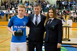 Reward for the best young player in 1.SFL during (Teo Turk of FC Litija) futsal match between FC Litija and FC Dobovec Pivovarna Kozel in Final of 1.SFL 2017/18, on May 18, 2018 in Sports hall Litija, Litija, Slovenia. Photo by Urban Urbanc / Sportida