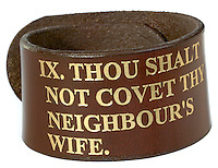 brown leather bracelet with the ten commandments inscribed