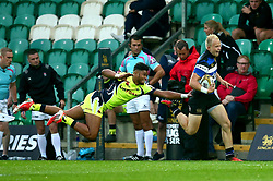 Will Homer of Bath Rugby is tackled by Billy Wara of Sale Sharks - Mandatory by-line: Robbie Stephenson/JMP - 28/07/2017 - RUGBY - Franklin's Gardens - Northampton, England - Sale Sharks v Bath Rugby - Singha Premiership Rugby 7s