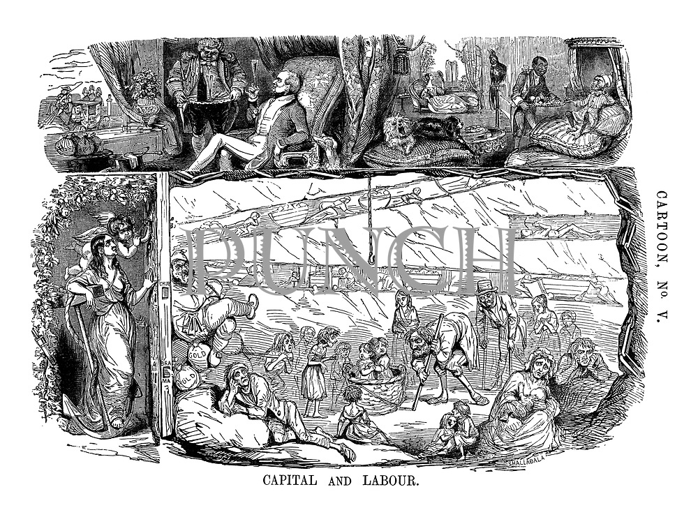 Cartoon, No. V. Capital and Labour. (a Victorian cartoon shows the contrasting conditions of workers and business owners above and below ground)