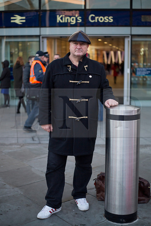 © Licensed to London News Pictures. 11/03/14 RMT union has confined its leader BOB CROW has died today. FILE PICTURE DATED: 02/01/2014. London, UK. RMT Union General Secretary Bob Crow is seen at a protest over today's (02/01/2014) 3.1% rail fare rise outside King's Cross Station in London this morning. The rail fare rise came in to force today as most across the country returned to work for the start of 2014. Photo credit: Matt Cetti-Roberts/LNP