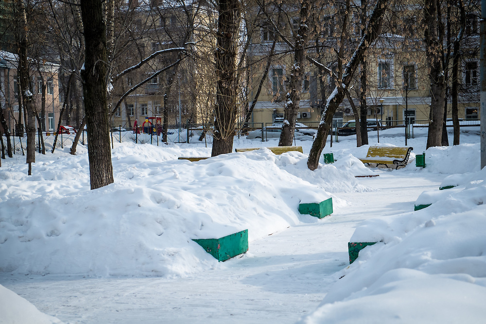 View of a snowed square in downtown Moscow during winter time