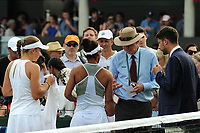 Tennis - 2017 Wimbledon Championships - Week One, Thursday [Day Four]<br /> <br /> Womens Doubles, Second Round match<br /> Jocelyn Rae and Laura Robson (GBR) v Raquel Atawo (USA) and Jelea Ostapenko (LAT)<br /> <br /> Raquel Atawo is asked by the Wimbledon Ofiicials to leave the court and change her top which is not standard white on Court 5<br /> <br /> COLORSPORT/ANDREW COWIE