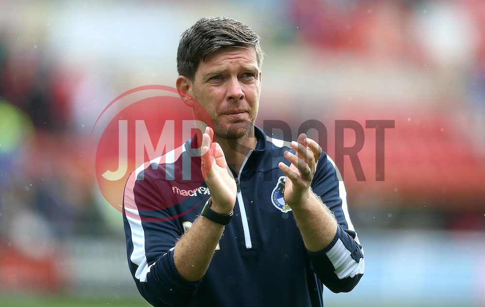 Darrell Clarke manager of Bristol Rovers applauds the fans after the abandonment between his side and Swindon Town - Mandatory by-line: Robbie Stephenson/JMP - 27/08/2016 - FOOTBALL - County Ground - Swindon, England - Swindon Town v Bristol Rovers - Sky Bet League One