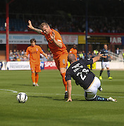 Dundee's Gary Harkins tumbles after being fouled by Kilmarnock's Mark Connolly to gain a penalty - Dundee v Kilmarnock - SPFL Premiership at Dens Park<br /> <br />  - &copy; David Young - www.davidyoungphoto.co.uk - email: davidyoungphoto@gmail.com