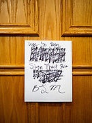 19 JUNE 2020 - DES MOINES, IOWA: A note left on the door of the Governor's office by Black Lives Matter during a Juneteenth rally in the Iowa State Capitol. About 100 supporters of Des Moines Black Lives Matter finished their week long series of protests at the Iowa State Capitol with a Juneteenth rally and demonstration. They are demanding that Gov. Kim Reynolds use an executive order to restore voting rights to felons who have completed their sentences. The protesters did not meet with the Governor Friday. The protest was peaceful.       PHOTO BY JACK KURTZ