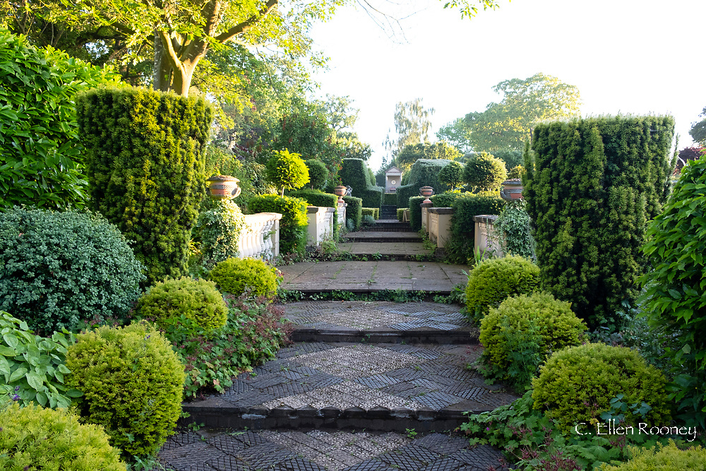 Steps surrouned by topiary and a balustrade in the 50th Birhday Garden leading to the V & A Temple in the Laskett Gardens, Much Birch, Herefordshire, UK