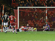 Aberdeen&rsquo;s Adam Rooney scores the winning goal - Aberdeen v Dundee, Ladbrokes Premiership at Pittodrie<br /> <br />  - &copy; David Young - www.davidyoungphoto.co.uk - email: davidyoungphoto@gmail.com