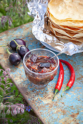 Homemade spicy aubergine and mustard pickle