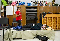 """Mistress Ford"" A. LaDue practices through a scene with ""Shakespeare"" M. Maas-Kisiel for the upcoming production of ""While Shakespeare Slept"" at Belmont High School.  (Karen Bobotas/for the Laconia Daily Sun)"