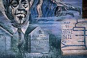 Mural depicting Sonny Boy Williamson and grave site, Tutwiler, MS