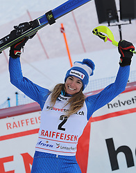 26.01.2018, Lenzerheide, SUI, FIS Weltcup Ski Alpin, Lenzerheide, alpine Kombination, Damen, Flower Zeremonie, im Bild Marta Bassino (ITA, 2. Placed) // Marta Bassino from Italie during the Flowers ceremony for the women's Alpine combination of FIS Ski Alpine World Cup in in Lenzerheide, Austria on 2018/01/26. EXPA Pictures © 2018, PhotoCredit: EXPA/ Sammy Minkoff<br /> <br /> *****ATTENTION - OUT of GER*****