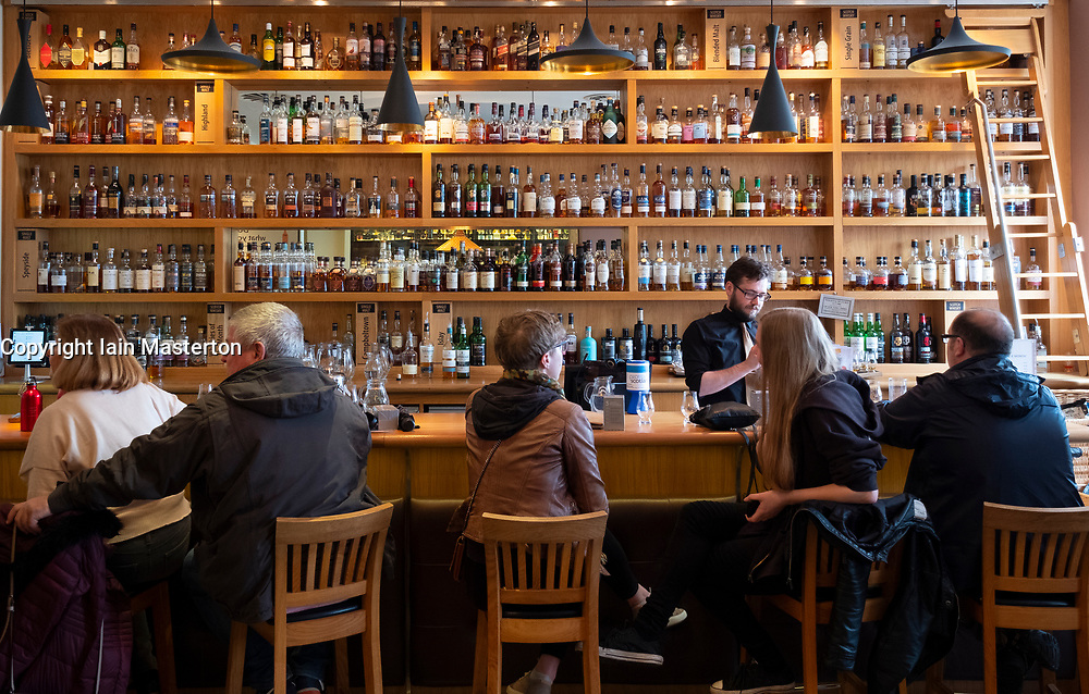Whisky bar at Scotch Whisky Experience on Royal Mile in Edinburgh, Scotland, UK