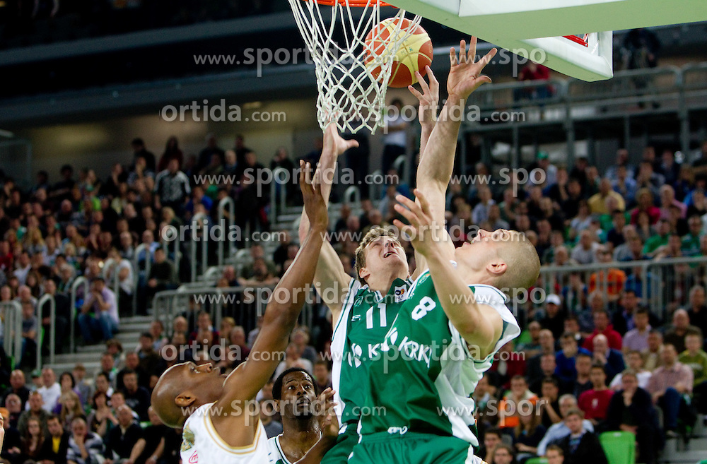 Kenny Gregory of Union Olimpija vs Zoran Dragic of Krka and Edo Muric of Krka during second semi-final match of Basketball NLB League at Final four tournament between KK Union Olimpija and Krka (SLO), on April 19, 2011 in Arena Stozice, Ljubljana, Slovenia. Union Olimpija defeated Krka 67-57. (Photo By Vid Ponikvar / Sportida.com)