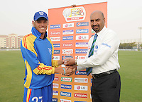 ICC World Twenty20 Qualifier UAE 2012Namibia take on Italy at the Global Cricket Academy, Dubai, in their 6th game of the tournament..Pic shows Man of the match, Raymond van Schoor receives his player of the match award from match referee, Graeme LaBrooy..