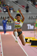 Malaika Mihambo (GER) wins the women's long jump at 23-11½ (7.30m)  during the IAAF World Athletics Championships, Sunday, Oct.. 6, 2019, in Doha, Qatar. (Jiro Mochizuki/Image of Sport)