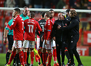 Charlton Athletic's assistant manager Lee Bowyer is held back from the officials by Milton Keynes Dons manager Robbie Neilson  at the end of the the EFL Sky Bet League 1 match between Charlton Athletic and Milton Keynes Dons at The Valley, London, England on 18 November 2017. Photo by John Marsh.