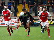 Shrewsbury Town's Aaron Holloway and Fleetwood Town defender Nathan Sheron (29) chase a long ball during the EFL Sky Bet League 1 match between Fleetwood Town and Shrewsbury Town at the Highbury Stadium, Fleetwood, England on 13 October 2018.