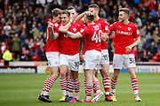 Barnsley midfielder George Moncur (10) scores a goal 1-0 and celebrates during the EFL Sky Bet Championship match between Barnsley and Burton Albion at Oakwell, Barnsley, England on 29 April 2017. Photo by Richard Holmes.
