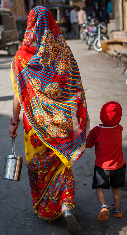 Indian woman in colorful sari with son (India)