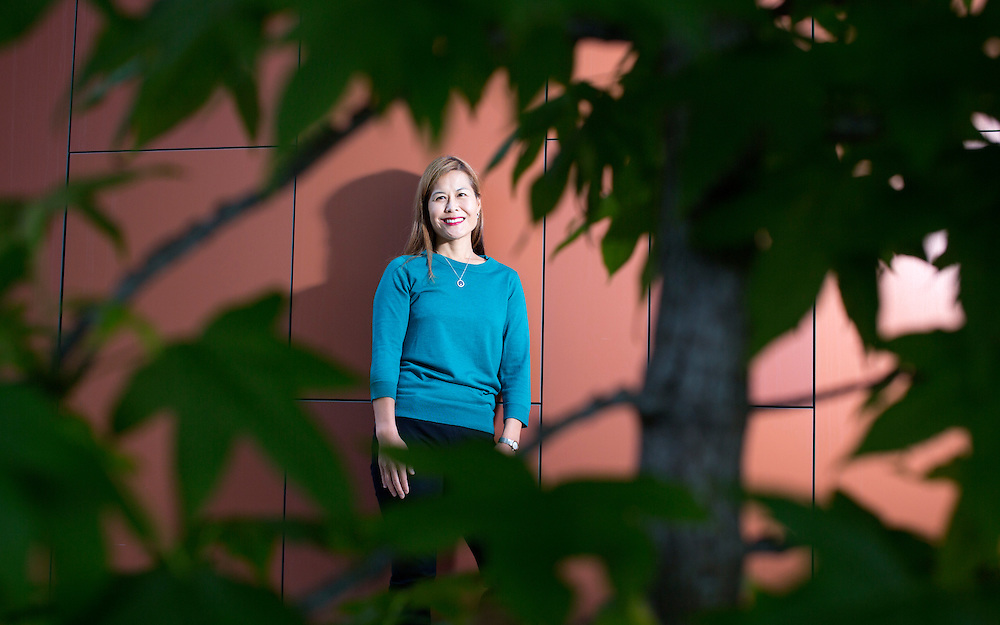 Jane Kim, MD stands outside of the Stein Research Center at the University of California San Diego on Wednesday, November 4, 2015 in La Jolla, CA.(Photo by Sandy Huffaker)