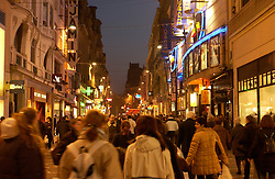 LILLE , FRANCE - FEB-22-2003 - Lille , France has been named the 2004 European Capital of Culture. People walk along a pedestrian street in the shopping district of Lille.(PHOTO © JOCK FISTICK).