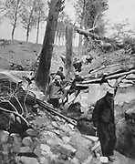 World War I 1914-1918:  French soldiers examining a trench damaged by enemy action.  From  'Le Flambeau', Paris, 18 September 1915.