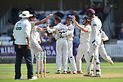 Wicket - Keshav Maharaj of Lancashire celebrates taking the wicket of Tom Abell of Somerset during the Specsavers County Champ Div 1 match between Somerset County Cricket Club and Lancashire County Cricket Club at the Cooper Associates County Ground, Taunton, United Kingdom on 5 September 2018.