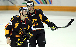 Frank Hordler (48) and Yannic Seidenberg of Germany at ice-hockey match Germany vs Norway (they have old replika jerseys from year 1966) at Preliminary Round (group C) of IIHF WC 2008 in Halifax, on May 07, 2008 in Metro Center, Halifax,Nova Scotia, Canada. (Photo by Vid Ponikvar / Sportal Images)