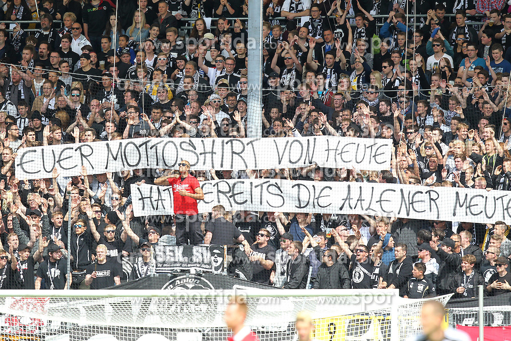 17.05.2015, Scholz Arena, Aalen, GER, 2. FBL, VfR Aalen vs 1. FC Heidenheim, 33. Runde, im Bild VfR Aalen Fans mit Banner // during the 2nd German Bundesliga 33th round match between VfR Aalen and 1. FC Heidenheim at the Scholz Arena in Aalen, Germany on 2015/05/17. EXPA Pictures &copy; 2015, PhotoCredit: EXPA/ Eibner-Pressefoto/ Langer<br /> <br /> *****ATTENTION - OUT of GER*****