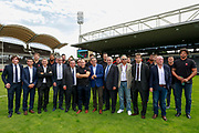 Lyon Mayor Georges Kepenekian, Lyon sports Deputy Mayor Yann Cucherat, Metropole de Lyon president David Kimelfeld, Olivier Ginon et Yann Roubert, architects, Albert Constantin during the inauguration of the Matmut stadium ( the new stadium of the Lyon OU rugby club ) on August 30, 2017 in Gerland, Lyon, France - Photo Romain Biard / iSports / ProSportsImages / DPPI