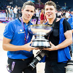 Jaka Lakovic, assistant coach of Slovenia and Photographer Vid Ponikvar celebrating at Trophy ceremony after  the Final basketball match between National Teams  Slovenia and Serbia at Day 18 of the FIBA EuroBasket 2017 when Slovenia became European Champions 2017, at Sinan Erdem Dome in Istanbul, Turkey on September 17, 2017. Photo by Jan Kropf / Sportida