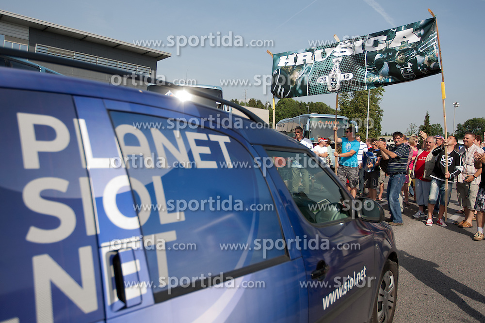at Slovenian ice-hockey player NHL Champion Anze Kopitar welcome ceremony when he arrived home after winning Stanley Cup at the end of season 2011/2012, on June 20, 2012, at airport Jozeta Pucnika, Brnik, Slovenia. (Photo By Matic Klansek Velej / Sportida)