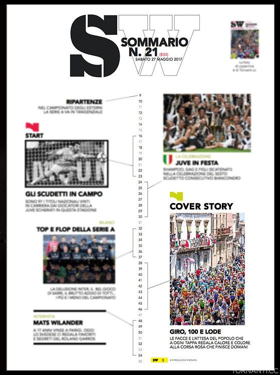 Giro d'Italia 2017, Sportweek RCS.<br /> Sportweek n21 27-05-2017 pag1