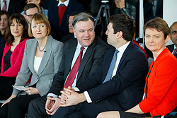 © Licensed to London News Pictures. 27/03/2015. LONDON, UK. Labour MPs Rachel Reeves, Harriet Harman, Ed Balls, Andy Burnham and Yvette Cooper attending to the launch of Labour's 2015 General Election campaign at Orbit, Queen Elizabeth Olympic Park in London on Friday, 27 March 2015. Photo credit : Tolga Akmen/LNP