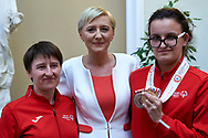 Warsaw, Poland - 2017 March 31: First Lady Agata Kornhauser-Duda smiles while meeting with Special Olympics athletes at Polish President's Palace on March 31, 2017 in Warsaw, Poland.<br /> <br /> Mandatory credit:<br /> Photo by © Adam Nurkiewicz / Mediasport<br /> <br /> Adam Nurkiewicz declares that he has no rights to the image of people at the photographs of his authorship.<br /> <br /> Picture also available in RAW (NEF) or TIFF format on special request.<br /> <br /> Any editorial, commercial or promotional use requires written permission from the author of image.<br /> <br /> Image can be used in the press when the method of use and the signature does not hurt people on the picture.