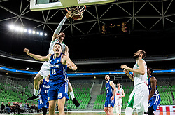 Aleksandar Lazic of Petrol Olimpija vs Sreten Knezevic of Rogaska during basketball match between KK Petrol Olimpija and KK Rogaska in Round #5 of Liga Nova KBM za prvaka 2018/19, on March 31, 2019, in Arena Stozice, Ljubljana, Slovenia. Photo by Masa Kraljic / Sportida