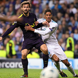 Fernando LLorente of Tottenham Hotspur and Rafael Varane of Real Madrid  in action during Uefa Champions League (Group H) match between Real Madrid and Tottenham Hotspur at Santiago Bernabeu Stadium on October 17, 2017 in Madrid  (Spain) (Photo by Luis de la Mata / SportPix.org.uk)