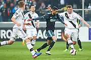 Warsaw, Poland - 2017 February 16: (C) Hakim Ziyech of Ajax Amsterdam shoots on the goal during soccer match Legia Warszawa v Ajax Amsterdam - UEFA Europe League  at Municipal Stadium on February 16, 2017 in Warsaw, Poland.<br /> <br /> Mandatory credit:<br /> Photo by &copy; Adam Nurkiewicz / Mediasport<br /> <br /> Adam Nurkiewicz declares that he has no rights to the image of people at the photographs of his authorship.<br /> <br /> Picture also available in RAW (NEF) or TIFF format on special request.<br /> <br /> Any editorial, commercial or promotional use requires written permission from the author of image.