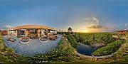 Flattened panorama view of a luxury villa in Canggu, Bali