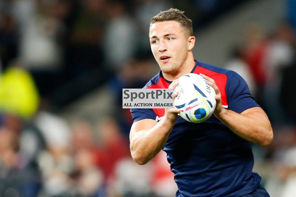 TWICKENHAM, ENGLAND - SEPTEMBER 26:  England's outside centre Sam Burgess (13) warming up before the 2015 Rugby World Cup Pool A match between England and Wales at Twickenham Stadium on September 26, 2015 in London, England. (Credit: SAM TODD | SportPix.org.uk)