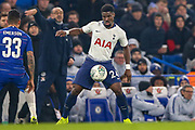 Tottenham Hotspur defender Serge Aurier (24) on the ball during the EFL Cup semi final second leg match between Chelsea and Tottenham Hotspur at Stamford Bridge, London, England on 24 January 2019.