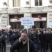 "8 December, Rome: people of Forza Italia in front of Auditorium, waiting for Berlusconi and the party convention. On the poster, ""Mandela on of us""..."