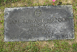 31 August 2017:   Veterans graves in Park Hill Cemetery in eastern McLean County.<br /> <br /> Carl Edward Manson Illinois AS USNRF  World War I Nov 8 1895 Dec 25 1933