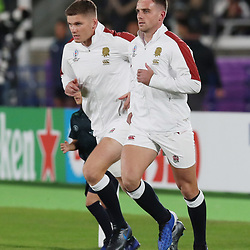 Owen Farrell (capt) of England and George Ford of England during the Rugby World Cup Final match between South Africa Springboks and England Rugby World Cup Final at the International Stadium Yokohama  Japan.Saturday 02 November 2019. (Mandatory Byline - Fotosport/David Gibson)