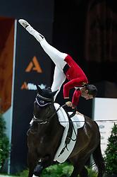 Gabe Aniello, (USA), Ferdinand 194, Bettina Gross - Individuals Mens Technical Vaulting - Alltech FEI World Equestrian Games™ 2014 - Normandy, France.<br /> © Hippo Foto Team - Jon Stroud<br /> 04/09/2014