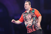 Brendan Dolan reaction after missing a dart at a double during the PDC William Hill World Darts Championship at Alexandra Palace, London, United Kingdom on 15 December 2019.